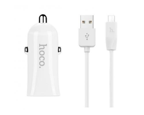 Автомобильное зарядное устройство Hoco Z12 + microUSB кабель