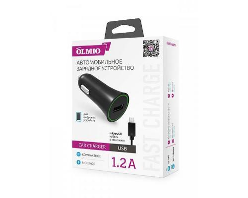 Автомобильное зарядное устройство USB Olmio 1.2A + microUSB кабель