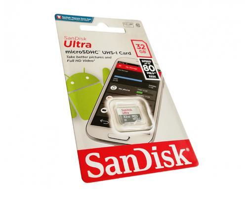 Карта памяти MicroSDHC 32GB Class 10 SanDisk Ultra UHS-I 80MB/s без адаптера