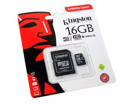 Карта памяти MicroSDHC 16GB Class 10 Canvas Select UHS-I U1 80MB/s Kingston + SD адаптер