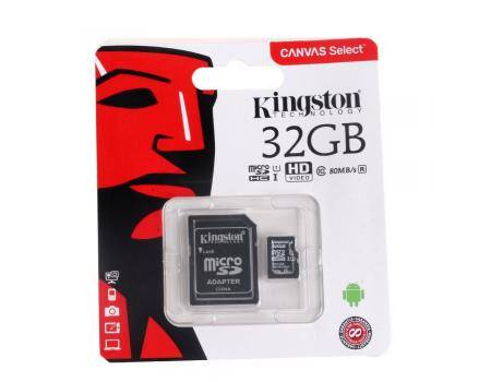 Карта памяти MicroSDHC 32GB Class 10 Canvas Select UHS-1 80MB/s Kingston + SD адаптер