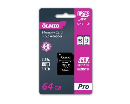 Карта памяти microSDXC 64GB UHS-I U3 V30 c адаптером Olmio