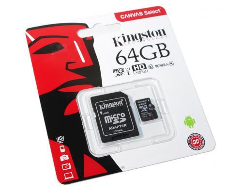 Карта памяти MicroSDHC 64GB Class 10 Kingston UHS-1 80MB/s + SD адаптер