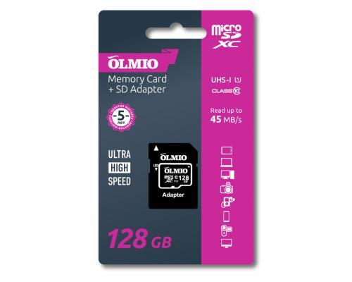 Карта памяти microSDXC 128GB Class 10 UHS-I c адаптером Olmio