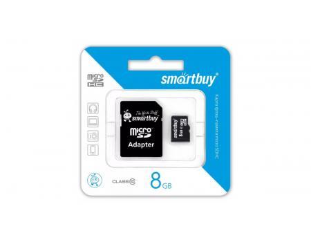 Карта памяти MicroSDHC 8GB Class 10 Smart Buy + SD адаптер
