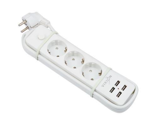 Сетевой фильтр Vixion BKL-08 10A 2200Bт 3 розетки + 4 USB 1.8м