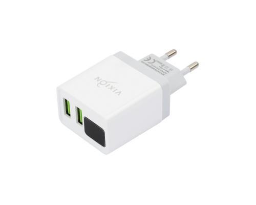 Сетевое зарядное устройство 2USB 3.1A + Lightning кабель с дисплеем Vixion L12i