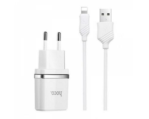 Сетевое зарядное устройство Hoco C11 Smart + кабель Lightning