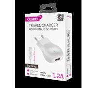 Сетевое зарядное устройство USB 1.2А + кабель для iPhone, Olmio