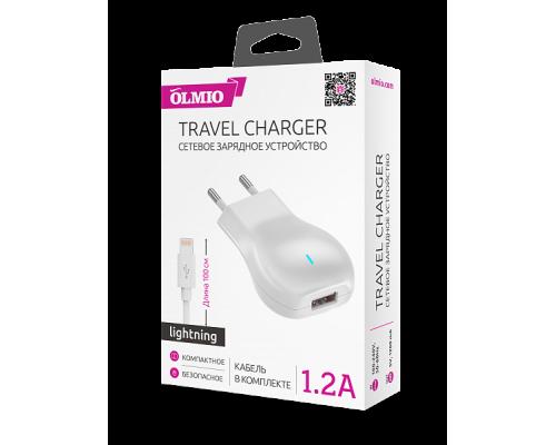 Сетевое зарядное устройство USB Olmio 1.2А + кабель для iPhone