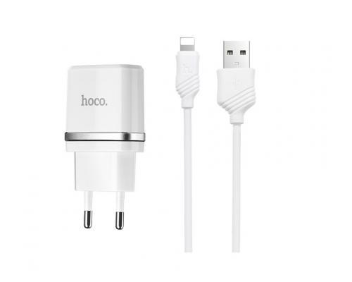 Сетевое зарядное устройство Hoco C12 Smart + кабель Lightning