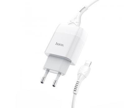 Сетевое зарядное устройство Hoco C72A + кабель Lightning