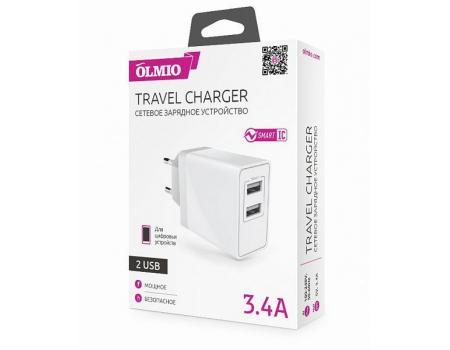 Сетевое зарядное устройство 2USB 3.4A Smart IC, Olmio