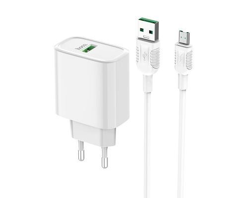 Сетевое зарядное устройство с быстрой зарядкой Hoco C69A + кабель microUSB