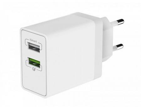 Сетевое зарядное устройство 2USB QC3.0+Smart IC 30W, Olmio