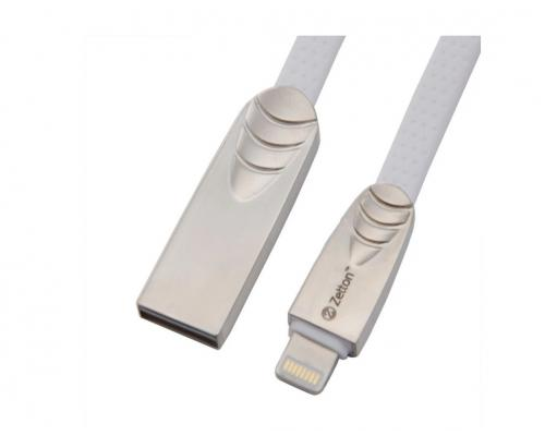 USB кабель для iPhone Lightning Zetton SyncCharge Flat Soft TPE Data Cable