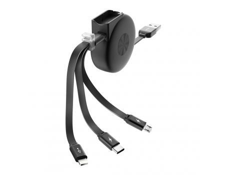 USB кабель Olmio Slide 3 в 1 раздвижной 1м