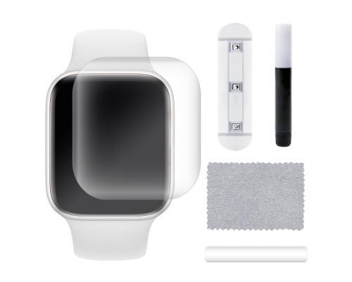 Защитное стекло 3D для Apple Watch 5 44 мм с гелем и лампой